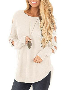 Solid Color Long Sleeve Knitted Hollow Sweater