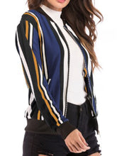 Band Collar  Striped  Basic  Jackets