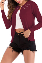 Band Collar  Beading  Plain Cardigans