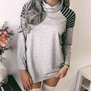 Casual Fashion Loose Strip High Collar Long Sleeve T-Shirts