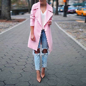 Wave Lapel Long Sleeve Plain Trench Coats