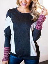 Fashion Color Blocking Long Sleeve T-Shirts