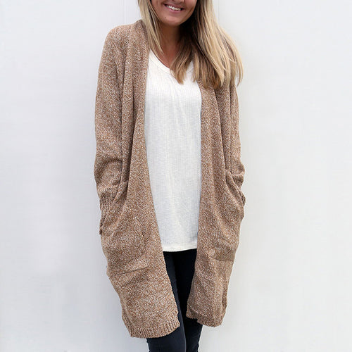 Plain Long Sleeve Loose Pocket Casual Cardigans