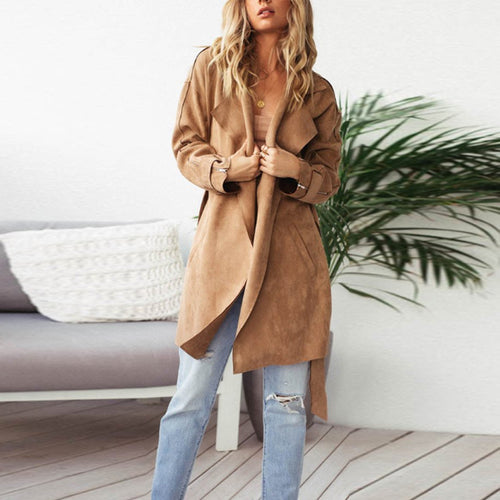 Fold Over Collar  Belt  Plain Trench Coat