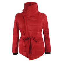 Turtle Neck Long Sleeve Belt Plain Padded Jackets