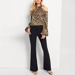 Turtle Neck Long Lantern Sleeve Hollow Out Leopard Printed Blouses