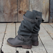 Comfort Sweater Boots Vintage PU Paneled Adjustable Buckle Casual Boots
