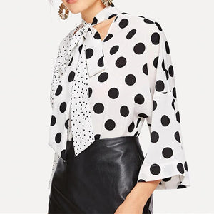 Black And White Wave Dot Fashion   Tie With V-Neck Spliced Blouses