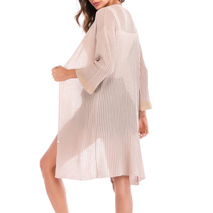 Color Block Long Flare Sleeve Knitting Cardigans