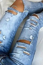 Broken  Holes  Plain  Jeans