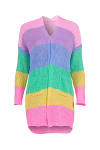 Band Collar  Color Block Striped Cardigans
