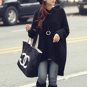 Bat Sleeve Irregular Bottom Hem Hooded Sweater Coat