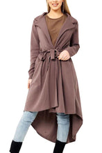 Fold Over Collar  Asymmetric Hem  Belt Loops  Plain Trench Coat