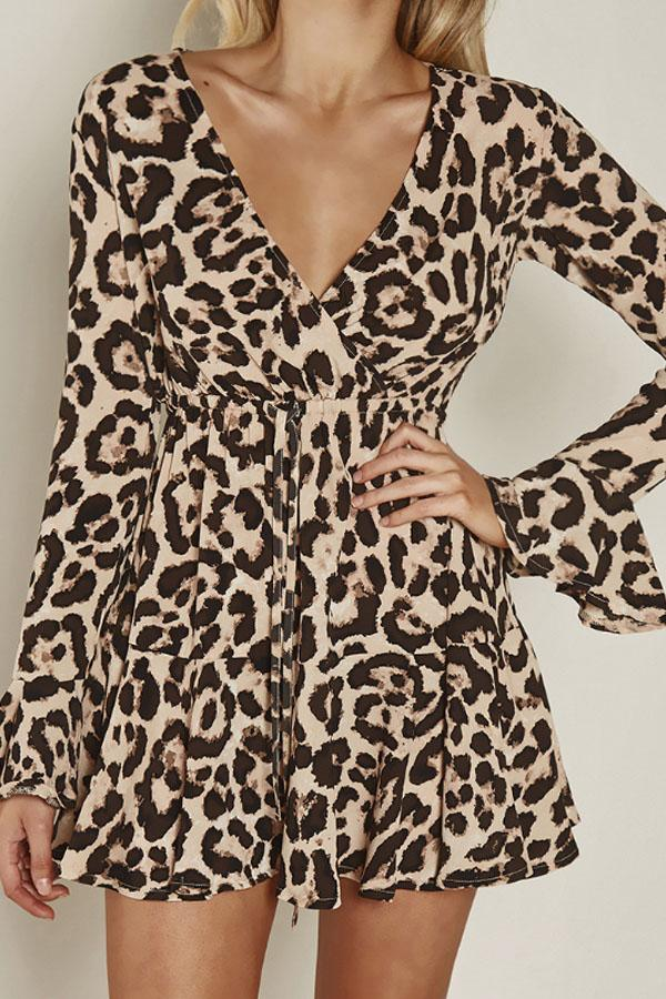 Deep V Neck  Leopard  Bell Sleeve  Long Sleeve Casual Dresses