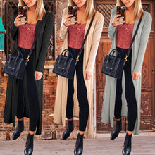 Casual Long Sleeve Plain Maxi Cardigans