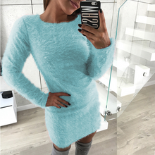 Autumn And Winter Long Sleeved Round Neck Plush Dress