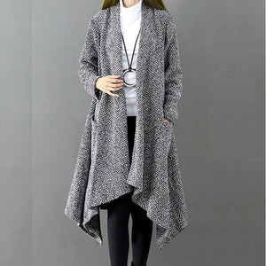 Irregular Knitted Cardigan Trench Coat