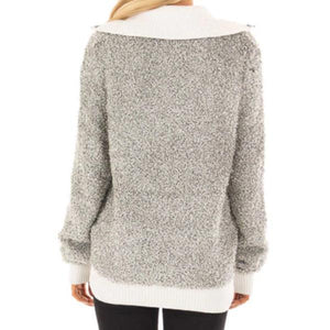 Fashion Color Blcoking High Collar Zipper Up Sweatshirts