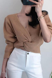 Casual V Cvollar Plain Loose Cross Short Sweater