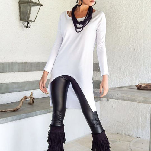 Plain Round Collar Long T-Shirt