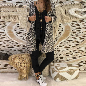 Hooded Leopard Printed Long Sleeve Fashion Trench Coats