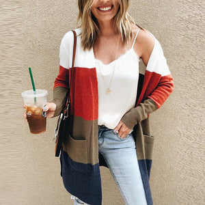 Color Block Long Sleeve Knitting Cardigans