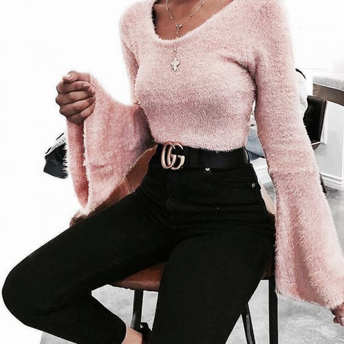 Flared Sleeve With Round Neck Knit Top