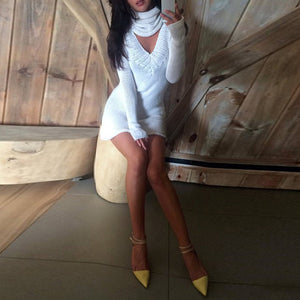 Turtle Neck V Neck Two Ways Long Sleeve Knitting Bodycon Dress