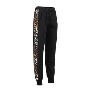 Elastic Waist Leopard Printed Patchwork Casual Pants