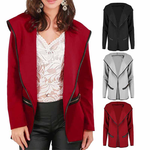 Lapel Plain Long Sleeve Blazer