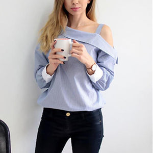 Elegant One Shoulder With Strap Casual Blouse