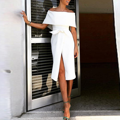 Fashion Off Shoulder Plain Bow Slit Bodycon Dress
