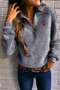 Band Collar  Zipper  Plain Sweatshirts
