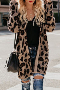 Collarless  Flap Pocket  Leopard Printed Cardigans