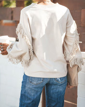 Fashion Casual Pure Color Tassel Round Neck Long Sleeve Sweatshirts