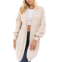 Casual Long Lantern Sleeve Plain Knitting Cardigans