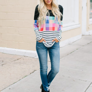 Chic Round Collar Long Sleeves Color Block Pored T Shirt