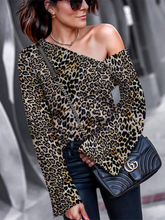 Autumn Fashion Leopard Print Off The Shoulder Blouse