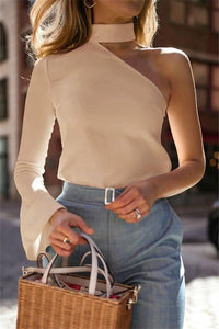 Autumn And Winter   Fashion Sexy Pure Color Single Shoulder Long Sleeve Blouses
