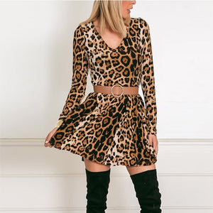 V Neck  Leopard Printed  Long Sleeve Skater Dresses