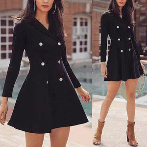Lapel Long Sleeve Button Plain Skater Dress