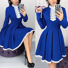 Turtle Neck Long Sleeve Lace Patchwork Skater Dress