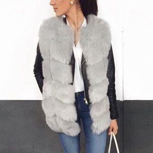 Round Neck Sleeve Faux Fur Vests Outwear
