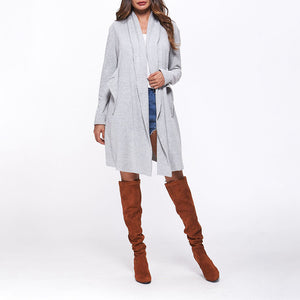 Asymmetrical Collar Long Sleeve Plain Pocket Fashion Cardigans