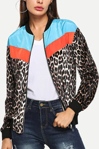 Band Collar  Leopard Printed Jackets