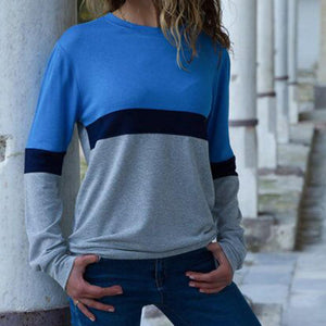 Casual Round Neck Long Sleeve Color Stitching T-Shirt Blouse