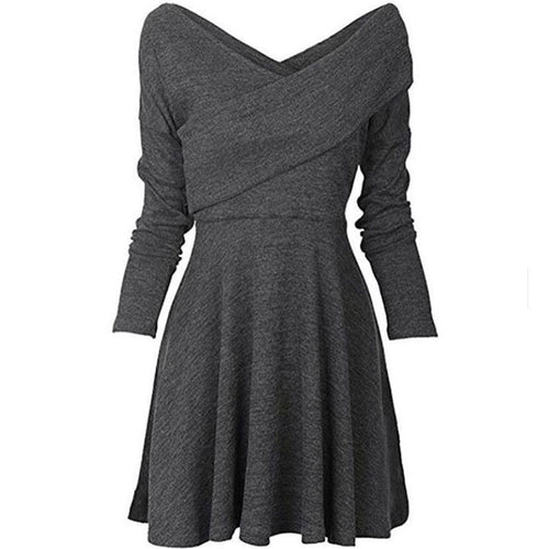 Off Shoulder Deep V Neck Long Sleeve Plain Skater Dress