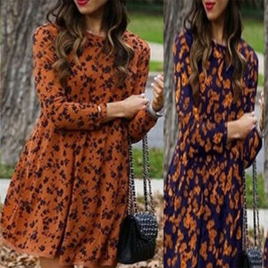Round Neck  Print  Long Sleeve Skater Dresses