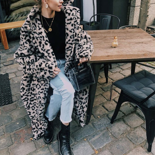 Leopard Printed Lapel Long Sleeve Maxi Coats