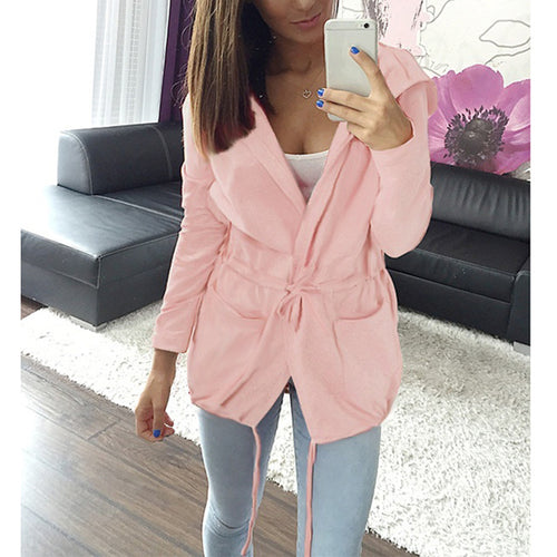 Hooded Plain Lace Up Long Sleeve Casual Jackets